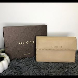 GUCCI BEIGE TAN LEATHER WALLET